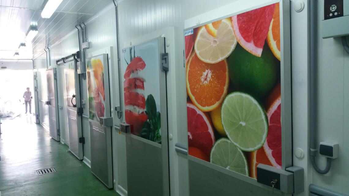 Couloir avec affiches agrumes dans l'unité de production de Newrest à Casablanca