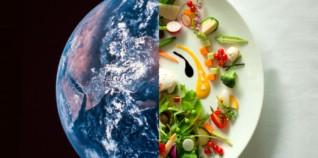Image de ma planète et d'une assiette gastronomique
