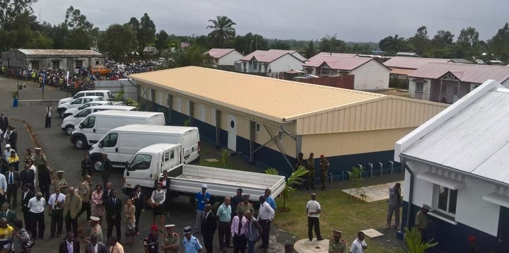 Vue aérienne du camp donné à la protection civile de Tamatave