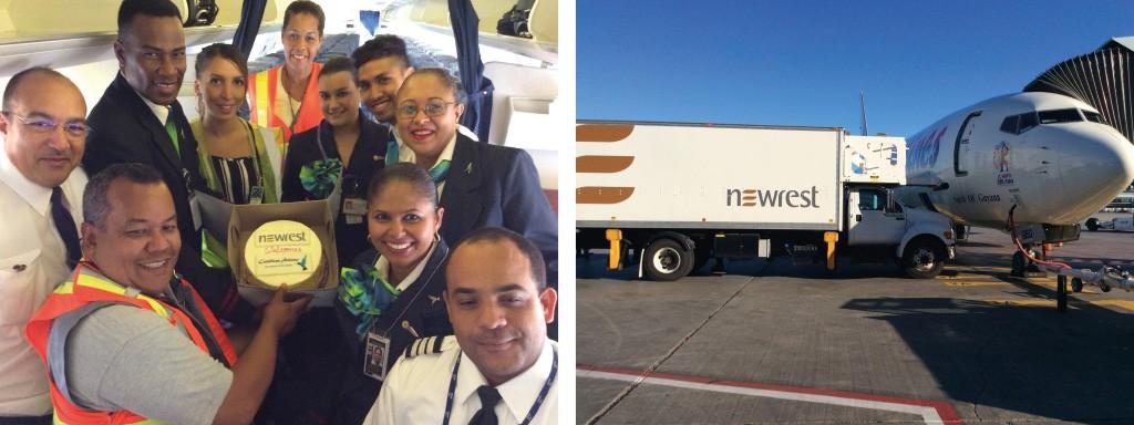 Avion au sol de la compagnie Caribbean avec un camion Newrest Servair