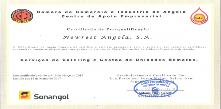 Newrest Angola certification