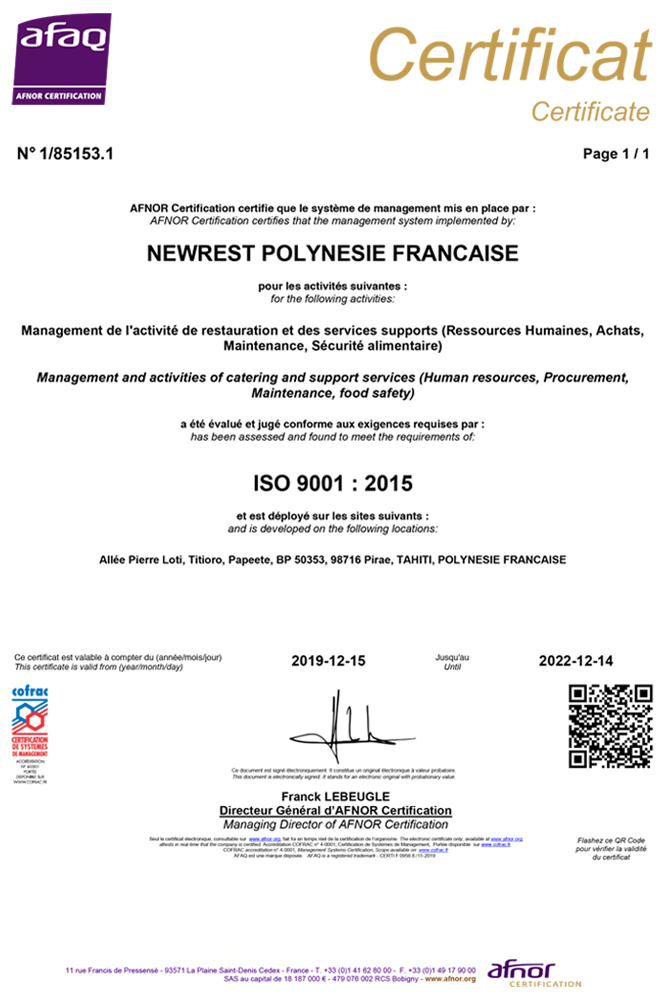 Newrest Polynésie Certification ISO